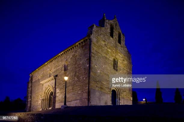 Saint James church by night in Villafranca del Bierzo village in the way of saint James in Bierzo region of Castilla and Leon 13th July 2009