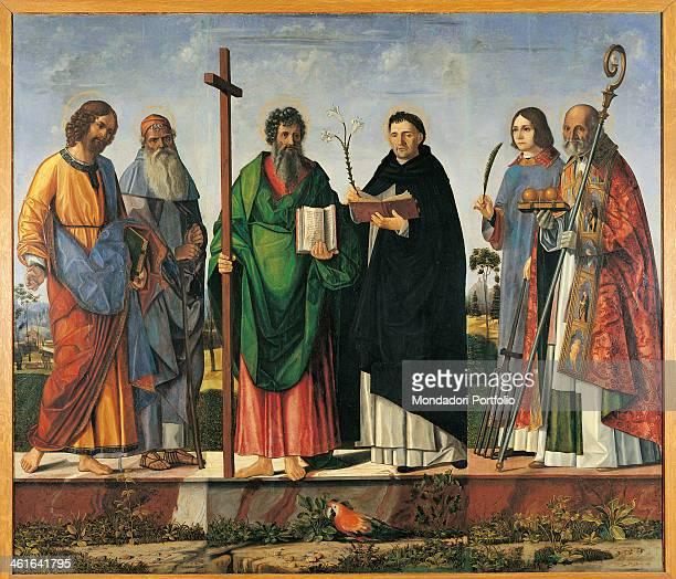 Saint James the Elder Anthony Abbot Andrew the Apostle Dominic de Guzman Lawrence and Nicholas of Bari by Vittore Carpaccio 16th Century oil on panel...