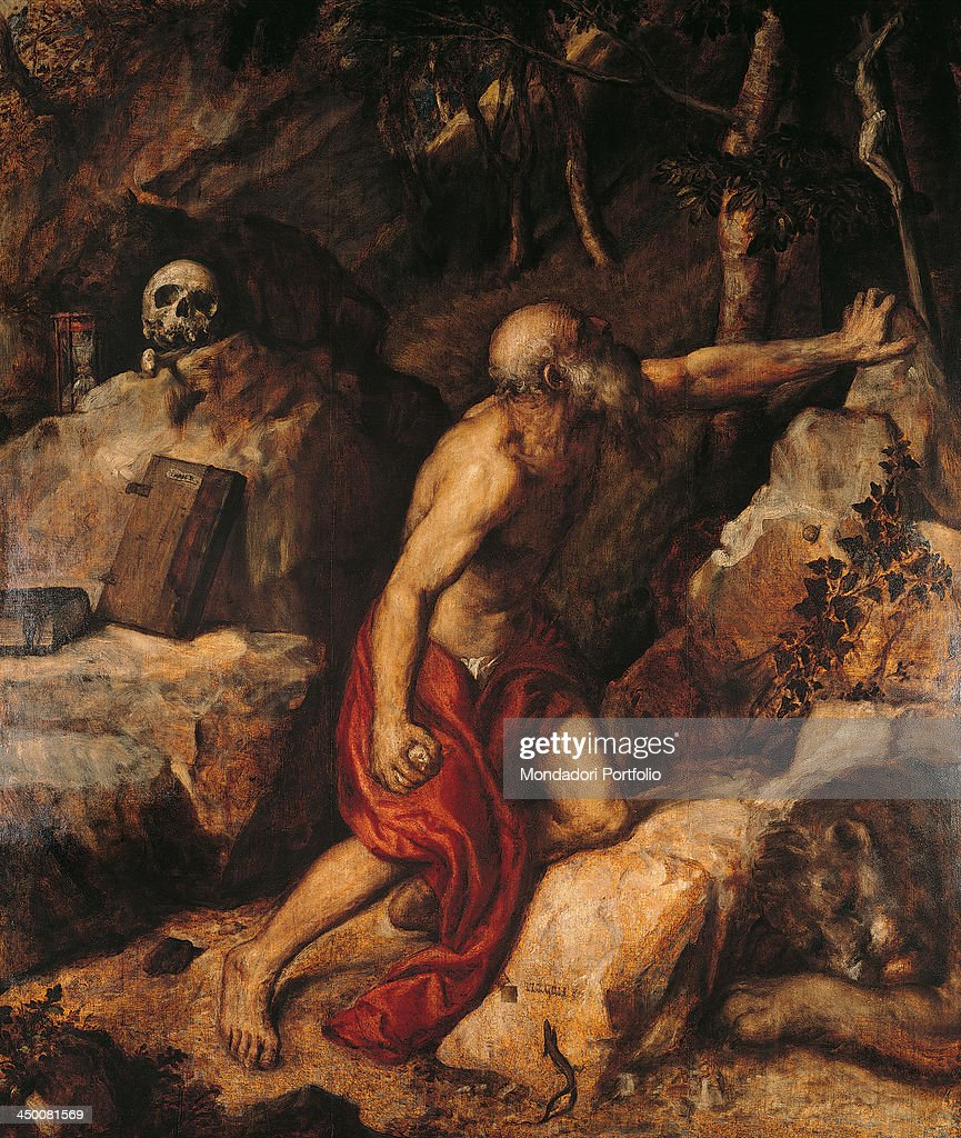 Saint Jerome Penitent (San Girolamo penitente), by <a gi-track='captionPersonalityLinkClicked' href=/galleries/search?phrase=Tiziano+Vecellio&family=editorial&specificpeople=118780 ng-click='$event.stopPropagation()'>Tiziano Vecellio</a> known as Tiziano, 1552, 16th Century, oil on panel, 255 x 125 cm.