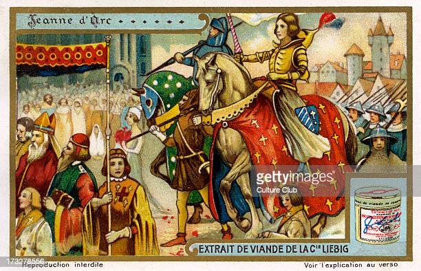 Saint Joan of Arc known as the Maid of Orléans a national heroine of France and a Catholic saint a peasant girl who claimed Divine guidance and led...