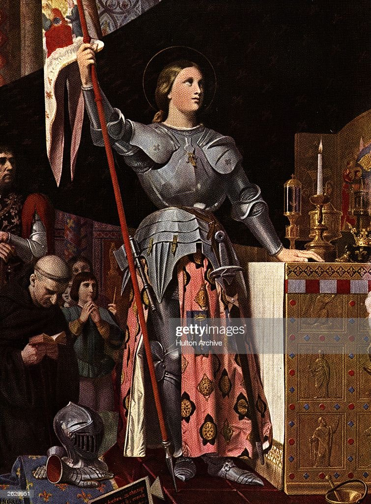 Saint Joan of Arc (1412 - 1431), known as 'the Maid of Orleans', at Reims Cathedral for the coronation of the dauphin as King Charles VII, circa 1429, accompanied by her squire Anton, her chaplain Jean Pasquerel and her pages. Earlier that year, she had driven the English from Orleans at the head of an army, but in 1431 she was captured and executed on a charge of witchcraft. She was canonized in 1920. Original Artwork: Painting by J D Ingres in the Louvre. Original Publication: People Disc - HF0797