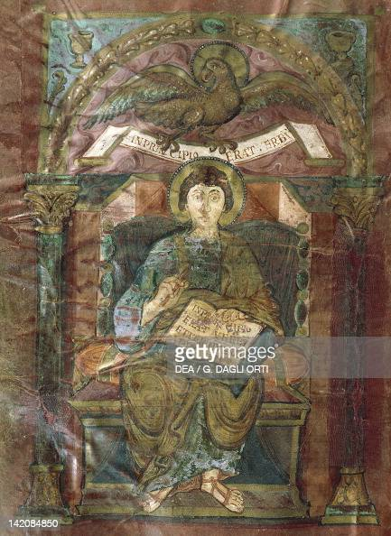 Saint John from the Gospel of Saint Riquier or the the Gospel of Charlemagne manuscript France ca 800