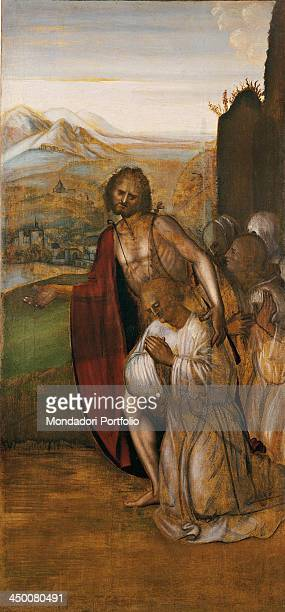 Saint John the Baptist and pious people by Francesco Della Porta 1520 1540 16th Century painting on board