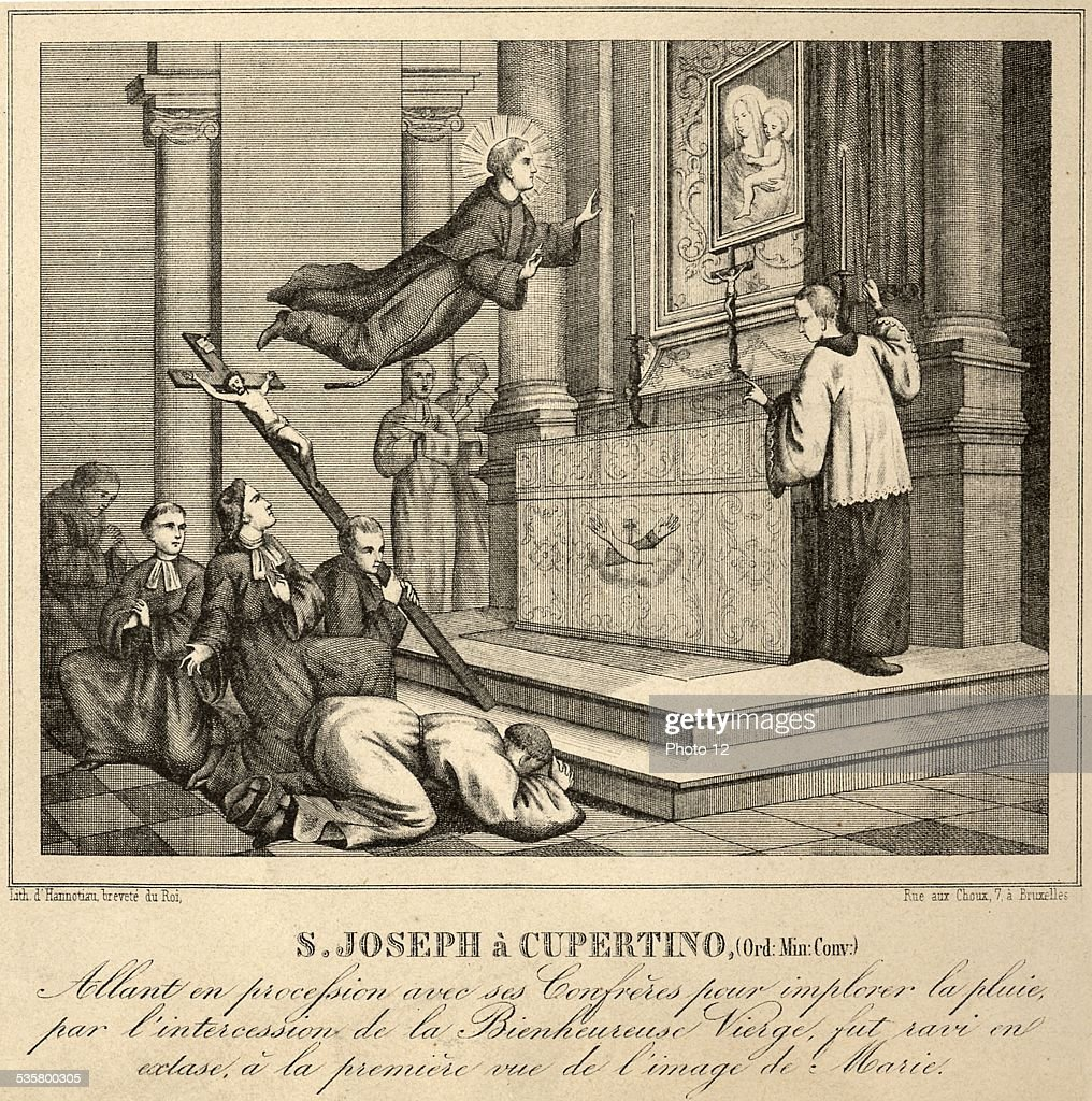 Saint Joseph de Cupertino in levitation in front of the image of the Virgin