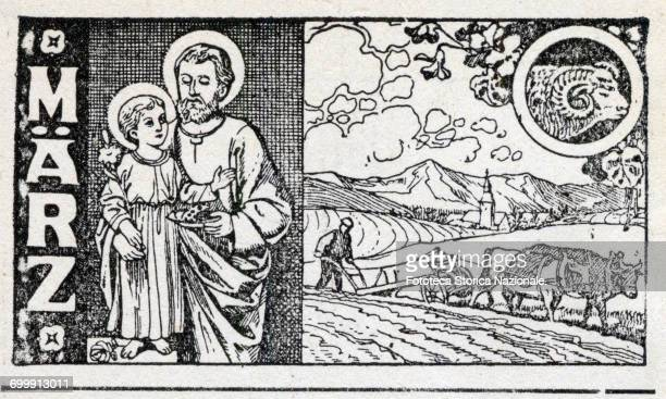 Saint Joseph plowing the fields zodiac sign of Aries Header of the month of March sheet of a German almanac woodcut Germany 1919 Header sheet for the...