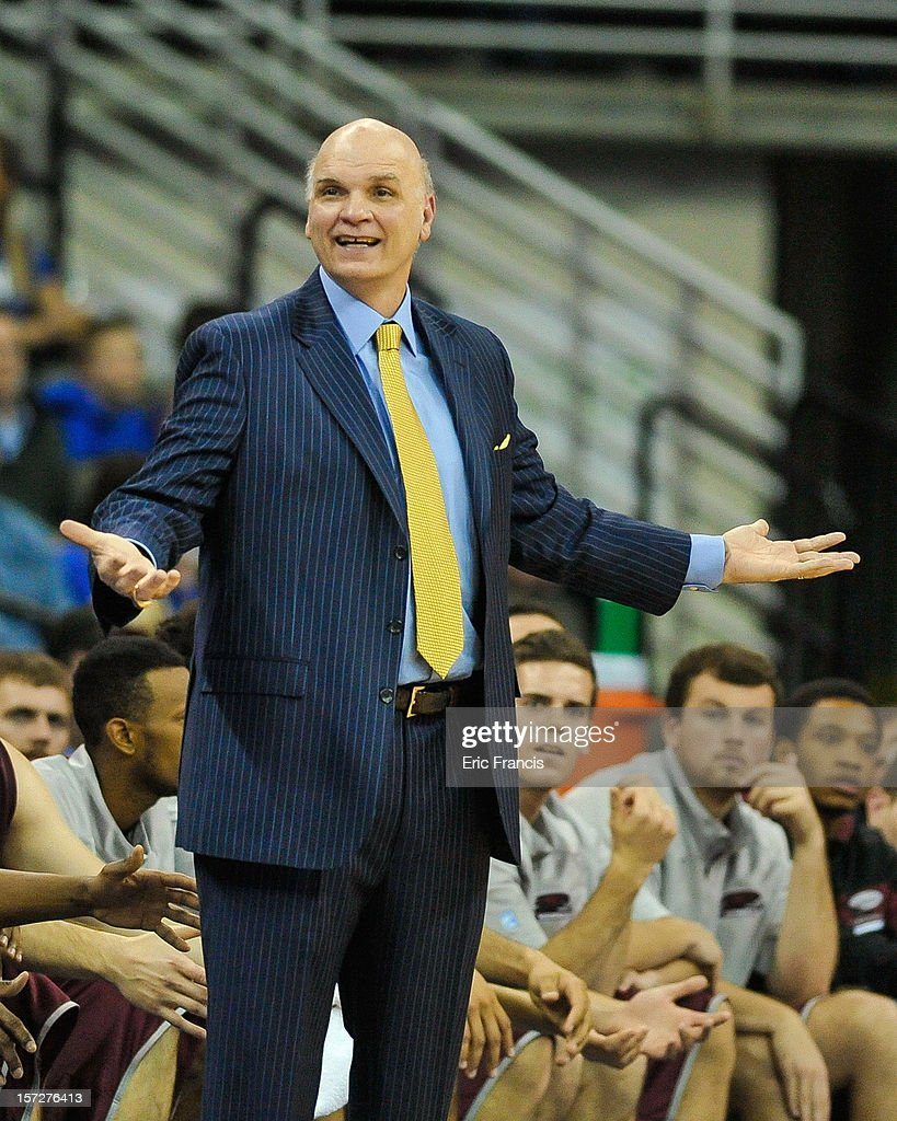 Saint Joseph's Hawks head coach Phil Martelli questions a call during their game against the Creighton Bluejays at CenturyLink Center on December 1, 2012 in Omaha, Nebraska. Creighton defeated Saint Joseph's 80-51.