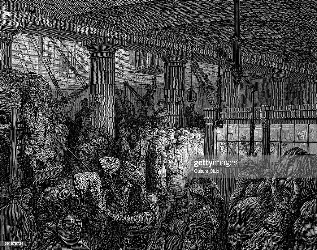 Saint Katherine's Dock Engraving by Gustave DorŽ from 'London a Pilgrimage by Gustave DorŽ and Blanchard Jerrold' 1872