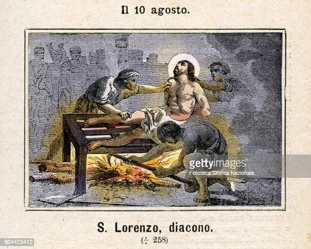 Saint Laurence is placed to martyrdom burned alive on a grill The patron saint of Genoa Ancona Viterbo Fano Chiavenna Alba innkeepers cooks and...