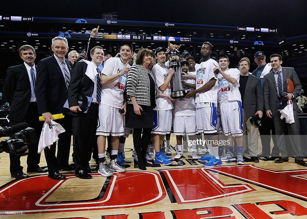 Saint Louis Billikens celebrate after winning the A10 championship against Virginia Commonwealth Rams during the Atlantic 10 Basketball Tournament - Championship Game at Barclays Center on March 17, 2013 in the Brooklyn borough of New York City. Saint Louis Billikens defeated Virginia Commonwealth Rams 62-56.