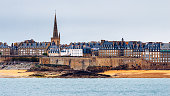 Saint Malo beach, Fort National during Low Tide. Brittany, France, Europe.