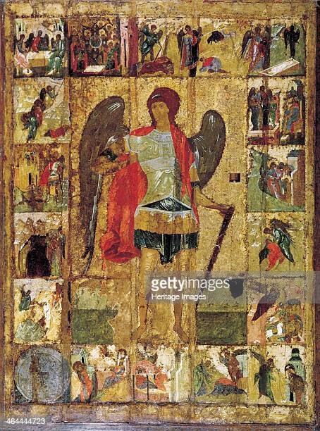 'Saint Michael the Archangel' c1410 Russian icon Found in the collection of the Archangel Michael Cathedral in the Kremlin Moscow