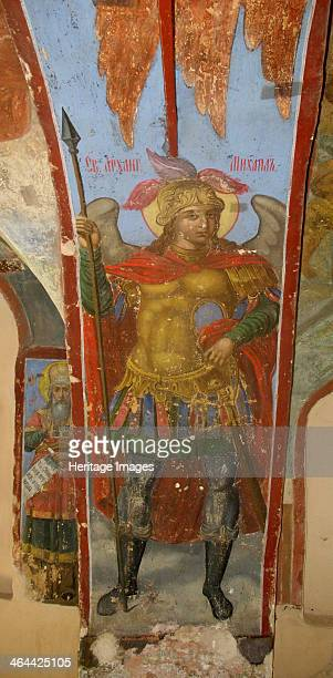 Saint Michael the Archangel Fresco in the Cathedral of Our Lady of the Sign Novgorod Early 18th cen Found in the collection of the Cathedral of Our...