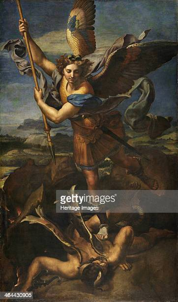 Saint Michael Vanquishing Satan 1518 Found in the collection of the Louvre Paris