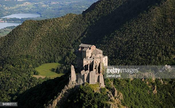 Saint Michael's Abbey, Sacra di San Michele, aerial view, Piedmont