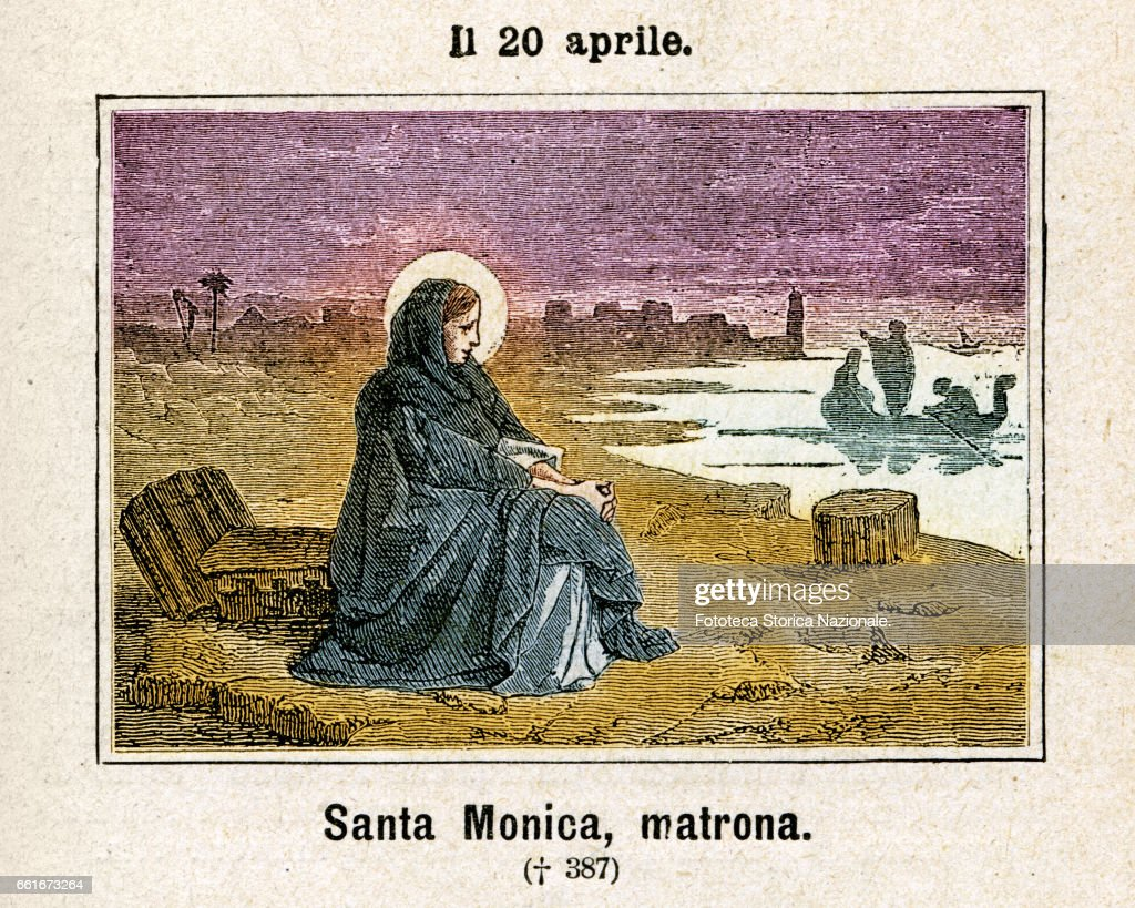 Saint Monica (331 - 387), also known as Monica of Hippo, was an early Christian saint and the mother of Saint Augustine of Hippo. Commemoration on April 20. Colored engraving from Diodore Rahoult, Italy 1886. (Photo by Fototeca Gilardi/Getty Images).