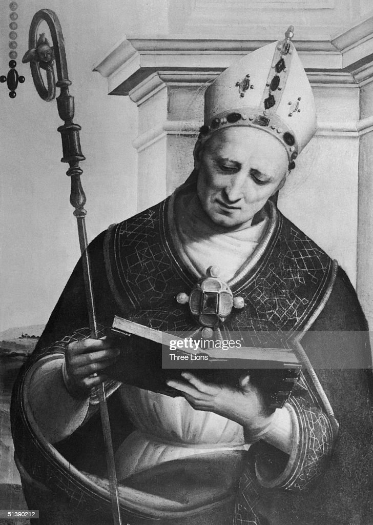Saint Nicholas I (c. 825 - 867), known as Saint Nicholas the Great, was Pope from 858 to 867. Detail from painting by Raphael in the National Gallery, London, circa 860.