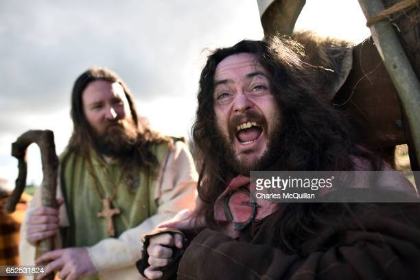 Saint Patrick played by Marty Burns and King Dichu played by Ciaron Davis take part in the reenactment of the first landing of Saint Patrick in...