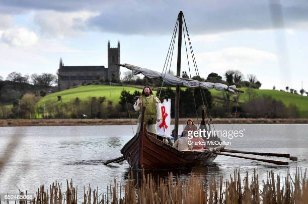Saint Patrick played by Marty Burns sails past Down Cathedral as the reenactment of the first landing of Saint Patrick on Irish shores takes place at...