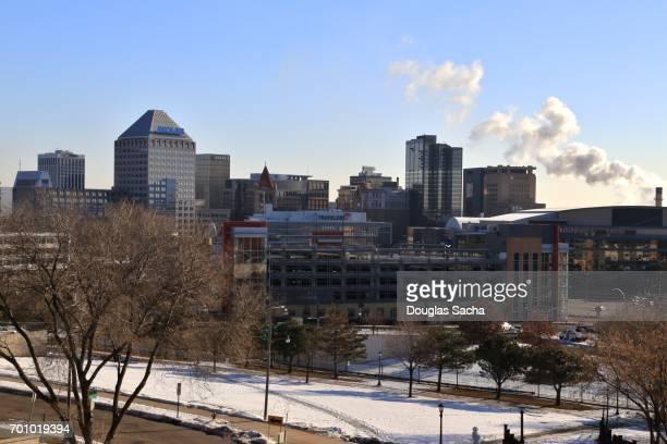 Saint Paul Downtown City Skyline during Winter