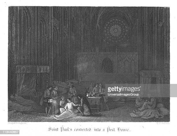 Saint Paul's being used as a pest house during the Plague of London Illustration by John Franklin for William Harrison Ainsworth Old Saint Paul's...
