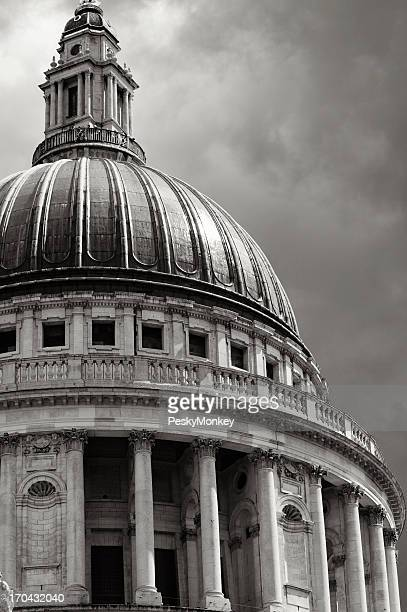 Saint Paul's Cathedral Dramatic Sky Black and White
