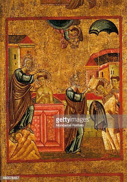 Saint Peter baptizes Saint Verano by Pisan artist 13th Century tempera on board 152 x 97 cm