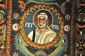 """Magnificent mosaic portrait of Saint Peter, in the UNESCO listed byzantine basilica of Saint Vitalis, Ravenna, Italy"""