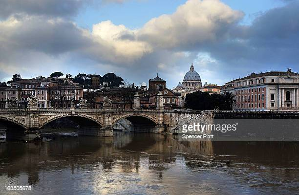 Saint Peter's Basilica is viewed in the morning light on March 11 2013 in Rome Italy Cardinals are set to enter the conclave to elect a successor to...