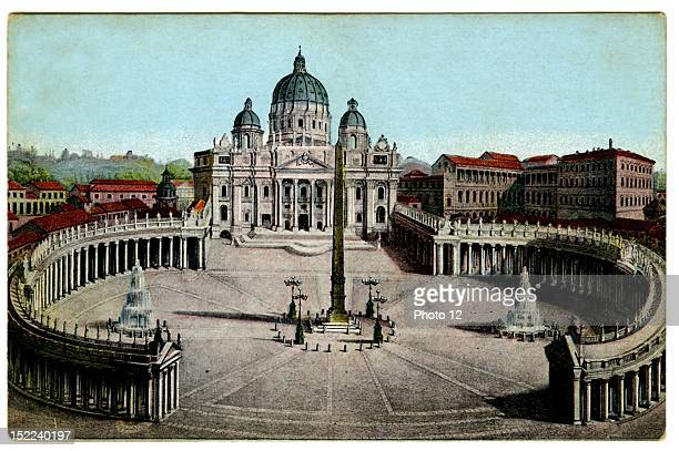Saint Peter's Piazza in Rome designed by Bernini upon their completion around 1680