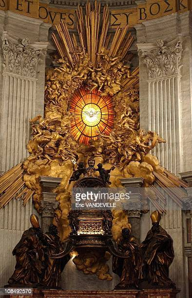 Saint Peter's seat made by Bernini inside Saint Peter Basilica The Pope's throne in Rome Italy in 2005
