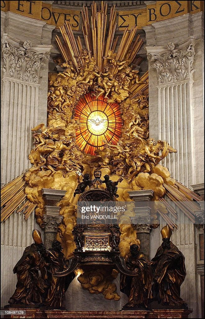 Saint Peter's throne by Bernini inside the Saint Peter Basilic in Rome, Vatican City on July 01, 2000.