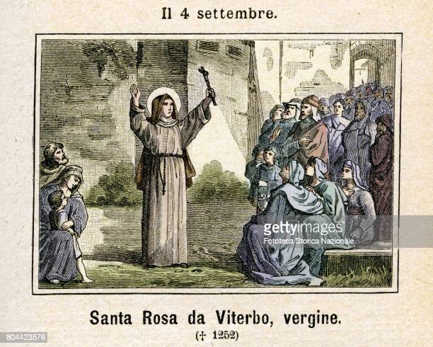 Saint Rose of Viterbo virgin a Franciscan tertiary nun Colored engraving from Diodore Rahoult Italy 1886
