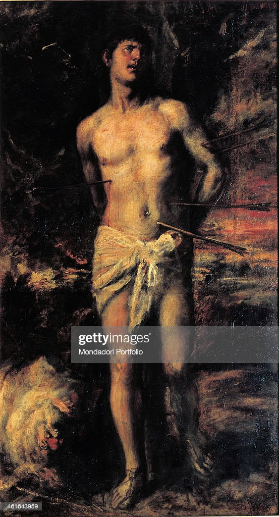Saint Sebastian, by Tiziano Vecellio also known as Tiziano, ca. 1570, XVI Centuryoil on canvas, 210 x 115,5 cm. Russia, St. Petersburg, The State Hermitage Museum. Whole artwork view. San Sebastiano standing, with his hands tied behind his back, pierced with arrows, looking up.