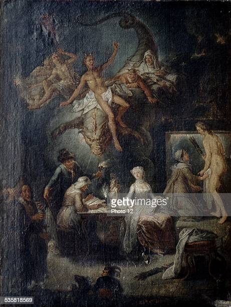 AF SaintAuber 'The First experience' or 'The Witches' cave' 18th century Cambrai museum of Fine Arts
