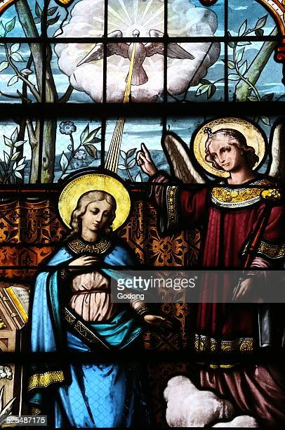 SaintAyoul church Stained glass window Depiction of the annunciation to the blessed Virgin Mary by the archangel Gabriel ie that the Virgin Mary...