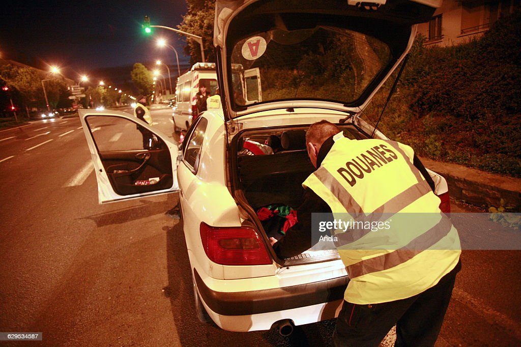 SaintBrieuc 2010 Customs control by night Vehicle being searched by Customs officers by the roadside