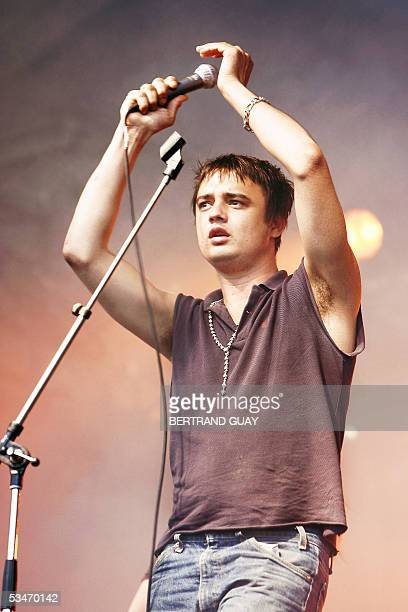 British singer of Babyshambles group Pete Doherty performs during the 3rd edition of the RockenSeine Music Festival in SaintCloud near Paris 26...
