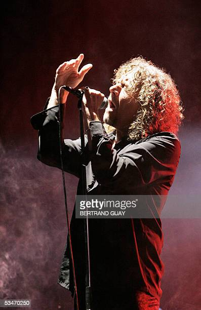 British singer Robert Plant performs during the 3rd edition of the RockenSeine Music Festival in SaintCloud near Paris 26 August 2005 AFP PHOTO...