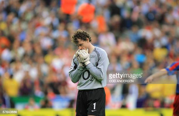 Arsenal's German goalkeeper Jens Lehmann is seen after he received a red card during the UEFA Champion's League final football match Barcelona vs...