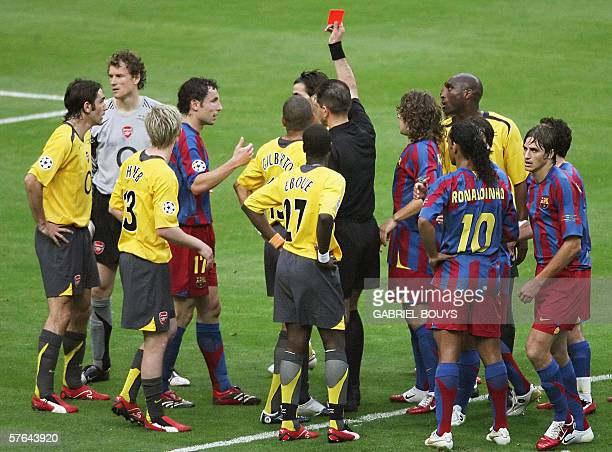 ==correcting identification of goalkeeper== Arsenal's German goalkeeper Jens Lehmann receives a red card from Norwegian referee Terje Hauge during...
