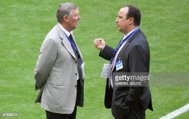 Liverpool's coach Rafael Benitez chats with Manchester United coach Sir Alex Ferguson before the UEFA Champion's League final football match...