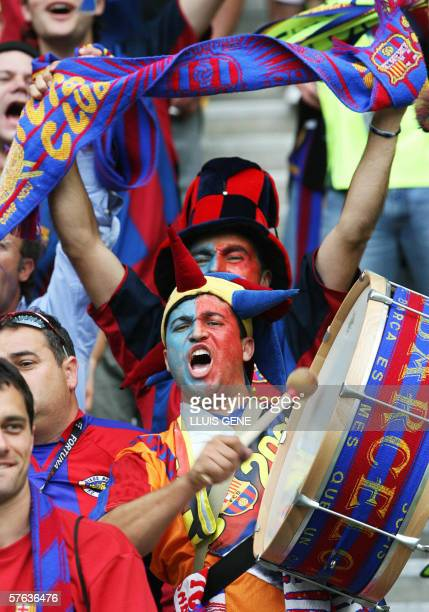 Picture of Barcelona's supporters taken before the begining of the UEFA Champion's League final football match Barcelona vs Arsenal 17 May 2006 at...