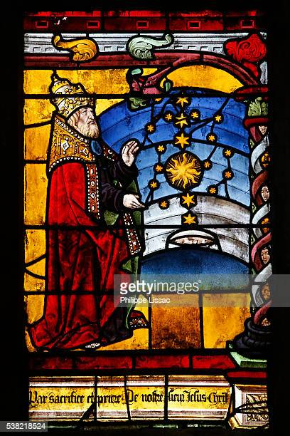 Sainte Madeleine de Troyes church. Stained glass window. The Genesis. 1500. Detail. God creating the sky.