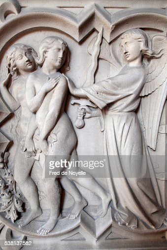 Sainte-Chapelle. Adam et Eve thrown out of Heaven.
