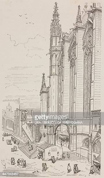 SainteChapelle in the eighteenth century engraving by Guillaumot jeune based on a drawing by ViolletleDuc from ParisGuide by leading writers and...