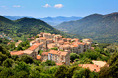 The village Sainte-Lucie-de-Tallano in the mountains of southern part of the island of corsica, France.
