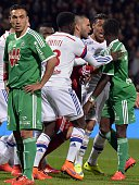 SaintEtienne French forward Mevlut Erding looks on while Lyon's and SaintEtienne's players clash during the French L1 football match between Lyon and...