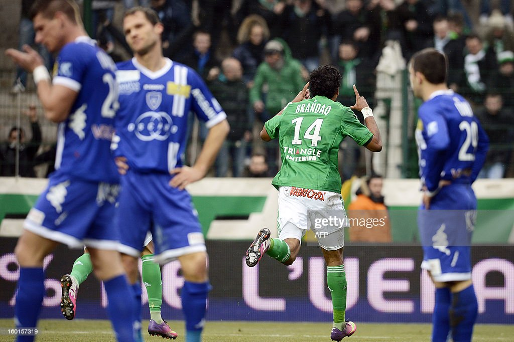 Saint-Etienne's Brazilian forward Brandao (R) celebrates after scoring a goal during the French L1 football match AS Saint-Etienne (ASSE) vs Bastia (SCB) on January 27, 2013, at the Geoffroy Guichard Stadium in Saint-Etienne, central France.