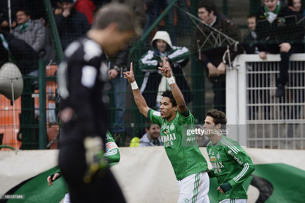 Saint-Etienne's Brazilian forward Brandao (C) celebrates after scoring a goal during the French L1 football match AS Saint-Etienne (ASSE) vs Bastia (SCB) on January 27, 2013, at the Geoffroy Guichard Stadium in Saint-Etienne, central France.