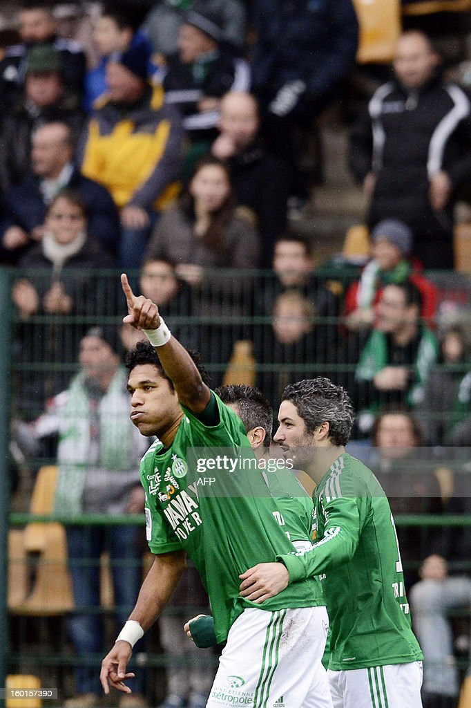 Saint-Etienne's Brazilian forward Brandao (L) celebrates after scoring a goal during the French L1 football match AS Saint-Etienne (ASSE) vs Bastia (SCB) on January 27, 2013, at the Geoffroy Guichard Stadium in Saint-Etienne, central France.